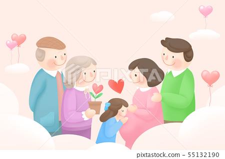 Harmony family, illustration of loving families 003 55132190