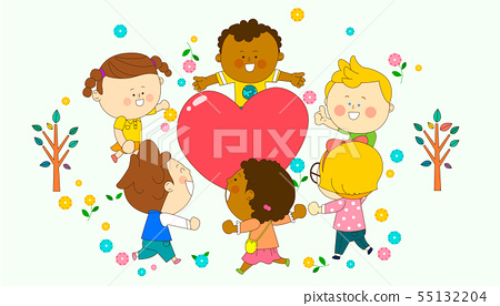 illustration of a group of happy children of different nationalities 006 55132204