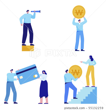 Isometric set of people, human movement concept isolated on white background. 053 55132259