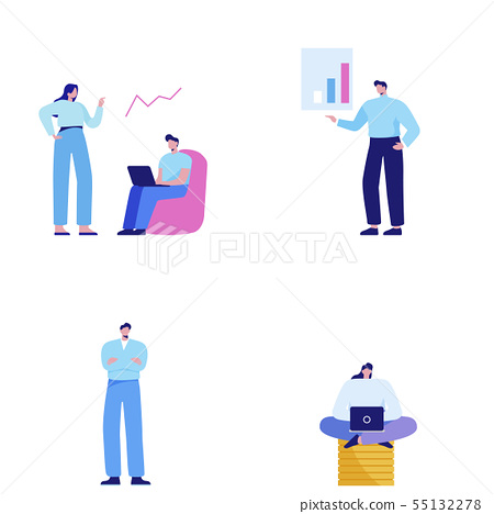 Isometric set of people, human movement concept isolated on white background. 052 55132278