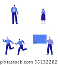 Isometric set of people, human movement concept isolated on white background. 036 55132282