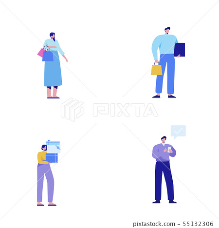 Isometric set of people, human movement concept isolated on white background. 011 55132306