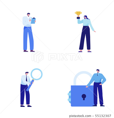 Isometric set of people, human movement concept isolated on white background. 006 55132307