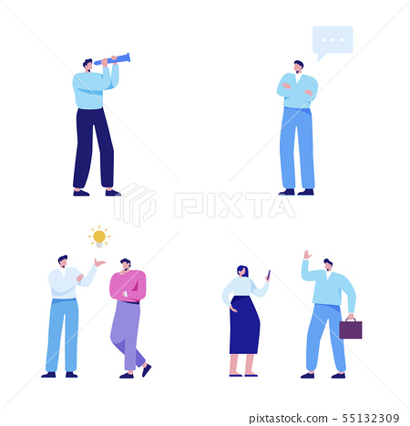 Isometric set of people, human movement concept isolated on white background. 003 55132309