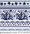 Stripe seamless pattern with sea underwater animals 55134426