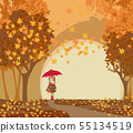 Beautiful girl with umbrella on an autumn day 55134519
