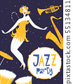 Jazz party invitation or poster template with dancing lady 55134811