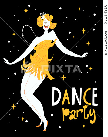 Dance party design for invitation or poster 55134816