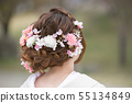 Back-looking woman with a pretty pink hair arrangement of color stalk 55134849