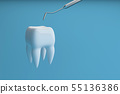Image of a tooth on a blue background with a dentist tool. 3D rendering 55136386