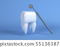Image of a tooth on a blue background with a dentist tool. 3D rendering 55136387