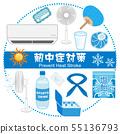 열사병 대책 상품 아이콘 세트 원형 배치 55136793