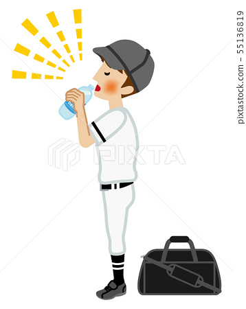 Boys in baseball club drinking sports drinks-Heatstroke prevention 55136819
