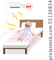 Senior woman suffering heatstroke on bed-air conditioner off 55136834