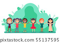 Group of Children Holding Hands, Friendship Vector 55137595
