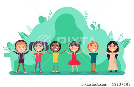 Group of Children Holding Hands, Friendship Vector 55137595