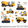 Off-road Car, Tractor and Forklift, Build Vector 55137704