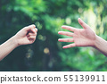 Couple play rock paper scissors hand game 55139911