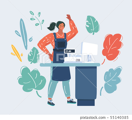 Retail woman cashier isolated. 55140385