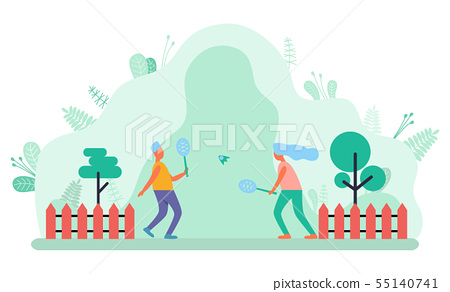 People Play with Racket and Shuttlecock Vector 55140741