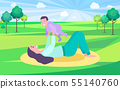 Mother Playing with Baby in Park on Mat Vector 55140760