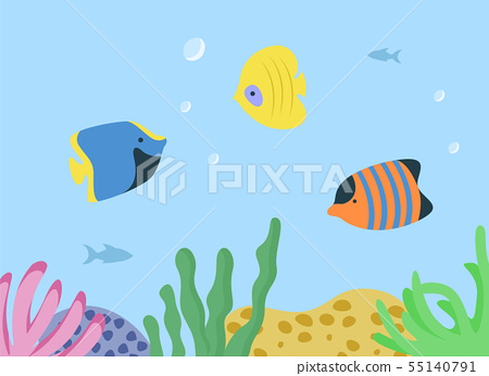 Underwater Seascape with Sea or Ocean Fish Species 55140791