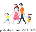 Parents and Kids Walking Outdoor, Family Vector 55140929