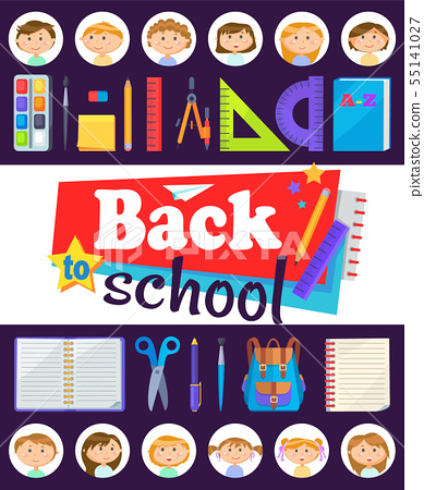 Office and Face of Kids, School Time, Pupils Vector 55141027