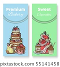 Cakes and cupcakes vector illustration. Chocolate, Napoleon, tiramisu, Sacher, eclair and cheesecake 55141458