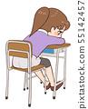 躺下的教室书桌椅子孩子 55142457