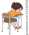 躺下的教室書桌椅子孩子 55142459