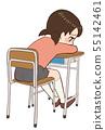 躺下的教室书桌椅子孩子 55142461