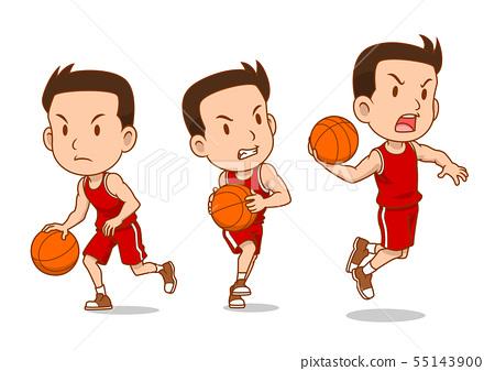 Cartoon character of basketball player. 55143900