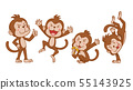 Set of cute cartoon monkeys in different poses. 55143925
