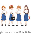 Set of cartoon high school girls. 55143930