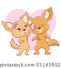 Fennec foxes falling in love. 55143932