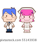 Cartoon character of doctor and nurse. 55143938