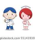 Cartoon character of doctor and nurse. 55143939
