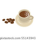 Coffee cup and coffee beans vector illustration. 55143943