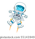 Cartoon character of astronaut floating. 55143949
