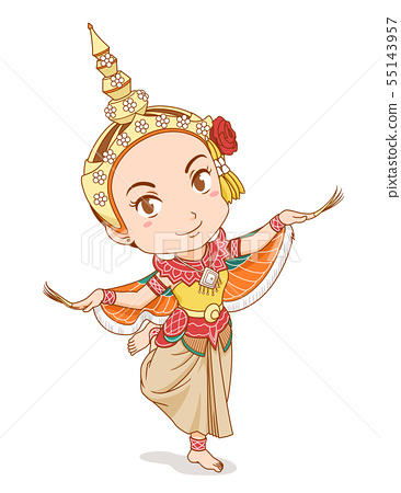 Thai dancer in Kinnari dress. 55143957