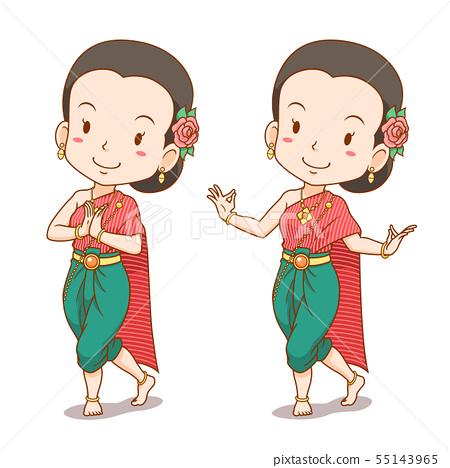 Cartoon Character Of Traditional Thai Dancer Girl Stock Illustration 55143965 Pixta
