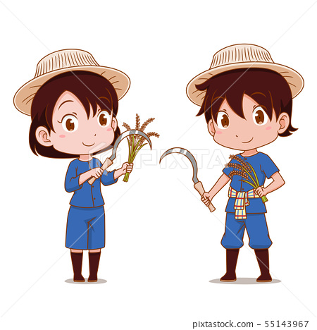Cute Couple Cartoon Of Thai Farmers Stock Illustration