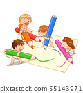 Cute kids playing colour pencils on paper. 55143971