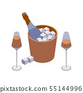 Isometric closeup scene with two wineglasses and 55144996