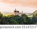 Beautiful aerial view of Neuschwanstein castle in summer season 55147217
