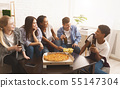 Time for lunch. Happy friends eating pizza 55147304