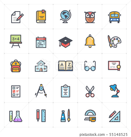 Icon set - school and education full color 55148525