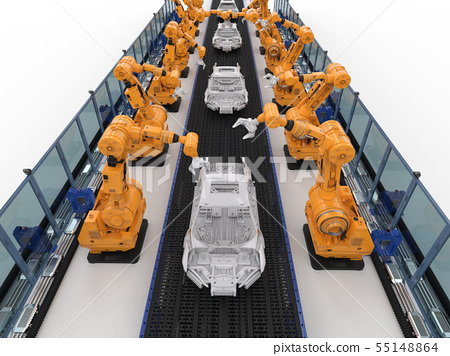 robot assembly line in car factory 55148864