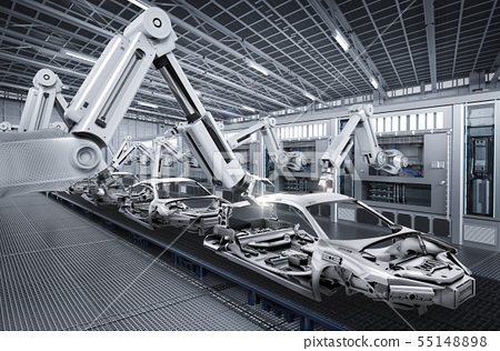 robot assembly line in car factory 55148898